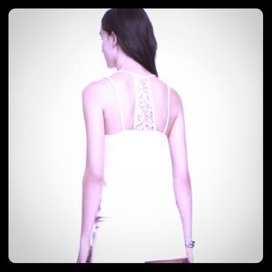 Express Pleated Neck Crochet racerback strapy cami